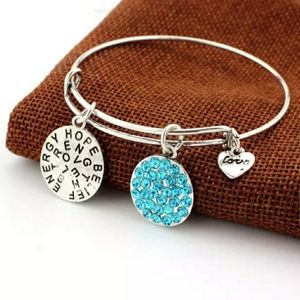 Silver Good Vibes Engraved Heart Charm Bracelet